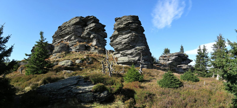Rocks on top of Vozka in Jeseniky Mountains royalty free stock photo