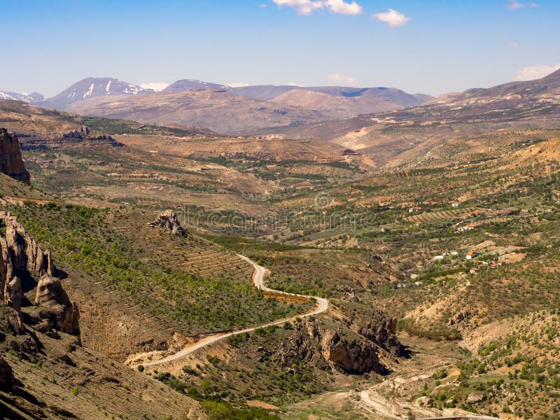 Rocks and valley view Turkey, Malatya. In blue suny clear day stock photo
