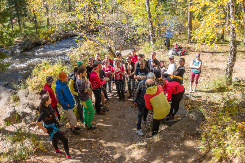Rocks Vityaz, Irkutsk - Russia in September 2016. The briefing f. Or the Golden Autumn participants climbers competition in September 2016 stock photography
