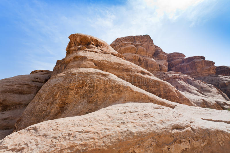 Rocks in Wadi Rum desert stock photography