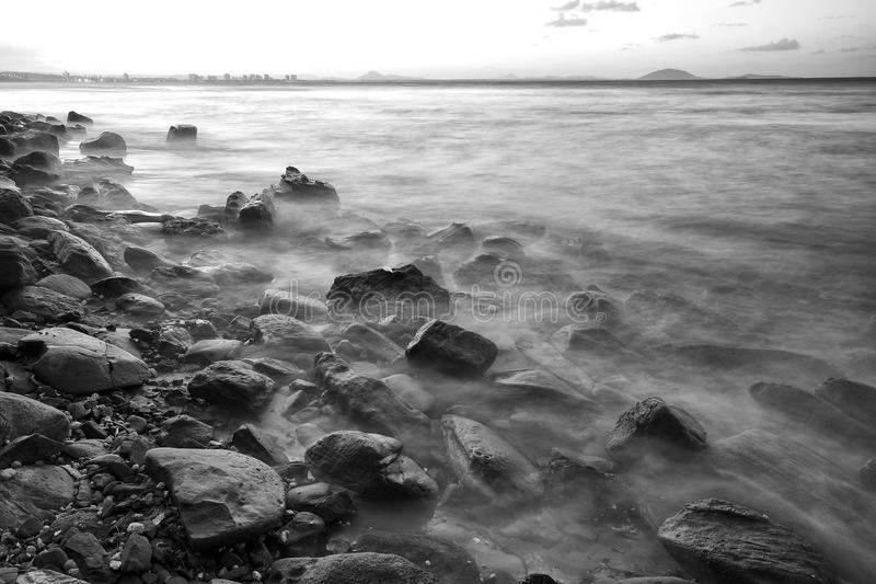 Rocks and water - Black and White stock image