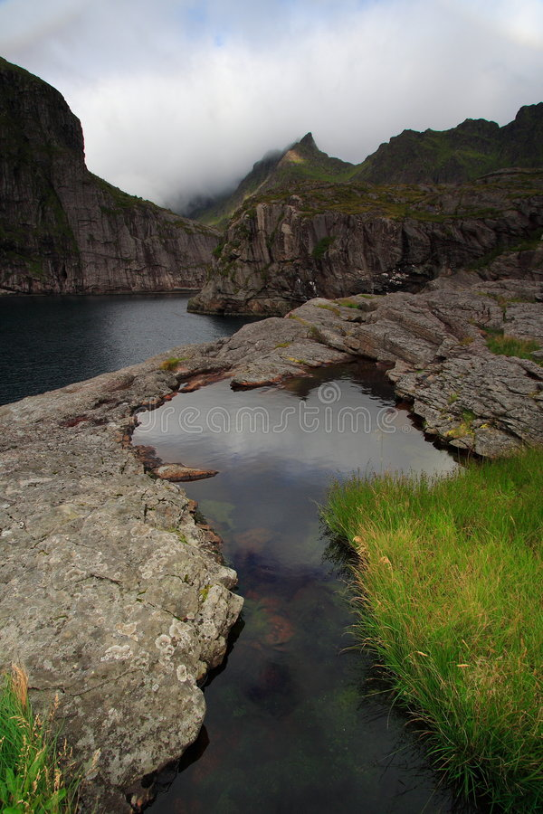 Rocks and water in the lofoten islands royalty free stock image