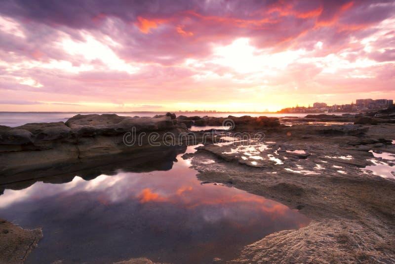 Rocks and waves at Kings Beach, QLD. Kings Beach - Sunshine Coast - QLD stock photo