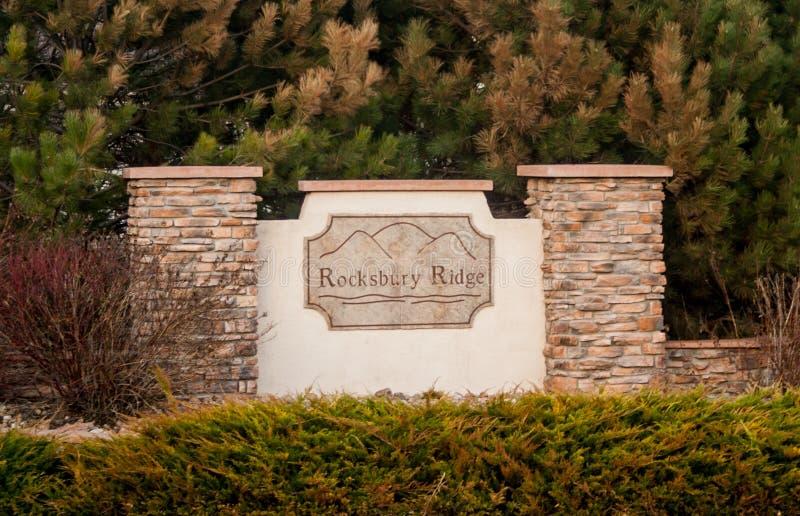 Rocksbury Ridge Neighborhood Sign fotografia de stock royalty free