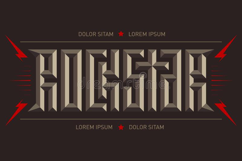 Rockstar - αφίσα μουσικής με την κόκκινα αστραπή και τα αστέρια Αστέρας της ροκ - σχέδιο μπλουζών τρισδιάστατες επιστολές Οι ενδυ απεικόνιση αποθεμάτων