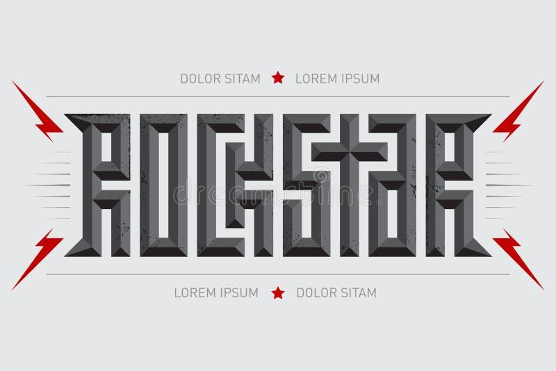 Rockstar - αφίσα μουσικής με την κόκκινα αστραπή και τα αστέρια Αστέρας της ροκ - σχέδιο μπλουζών Οι ενδυμασίες μπλουζών δροσίζου ελεύθερη απεικόνιση δικαιώματος