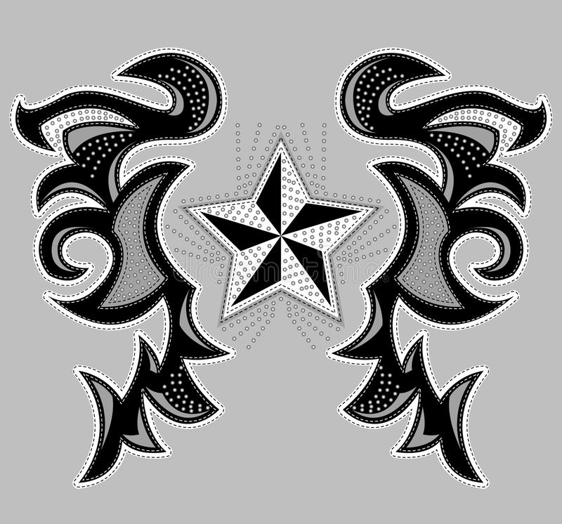 Rockstar Abstract ontwerp, t-shirt - jasjeontwerp stock illustratie