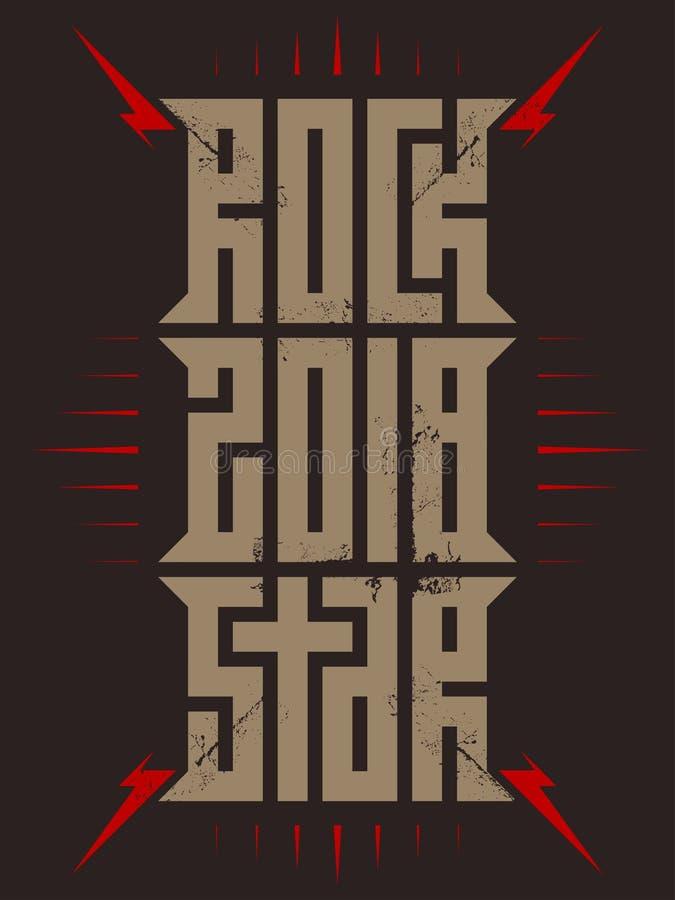 Rockstar - affiche de musique avec les foudres et les étoiles rouges aquarelle grunge florale de vedette du rock d'ornement de mi illustration stock