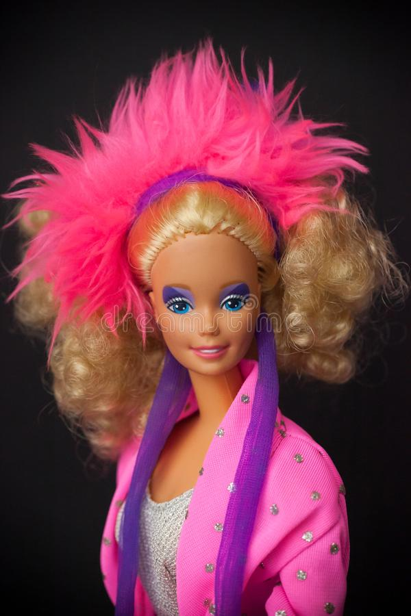 1986 Rockstar Barbie Doll. WOODBRIDGE, NEW JERSEY - May 10, 2019: A posed portrait of a 1986 Rockstar Barbie Doll on a black background stock photos