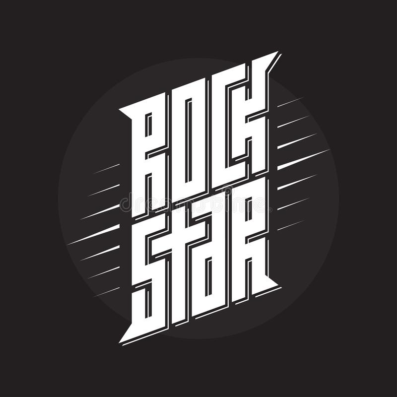 Rockstar - cartaz da música ou etiqueta de faixa Estrela do rock - desig do t-shirt ilustração do vetor