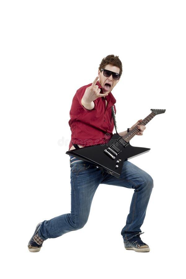 Rockstar, der die Gitarre spielt lizenzfreies stockbild