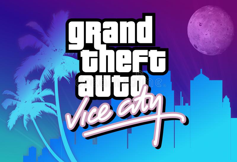 Rockstar Games Grand Theft Auto Vice City logo on a colorful background stock images