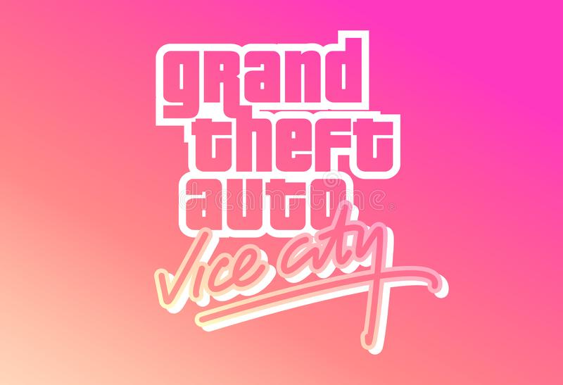 Rockstar Games Grand Theft Auto Vice City Logo On A Colorful