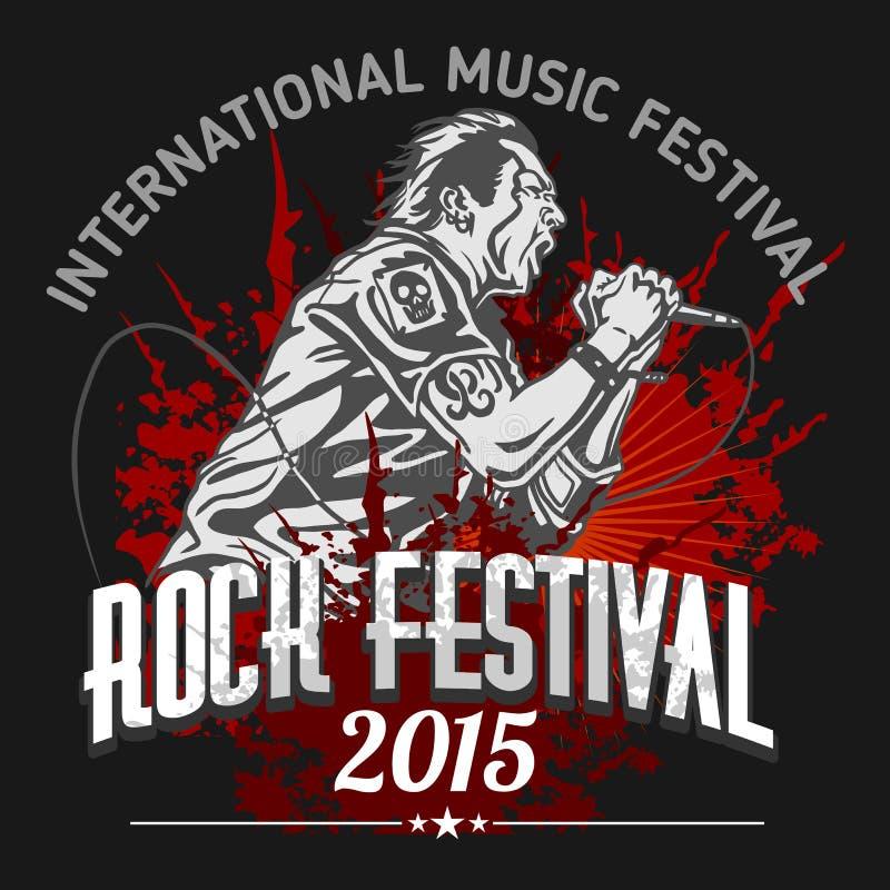 Rockstar mit Mikrofon auf Grungehintergrund - lizenzfreie abbildung