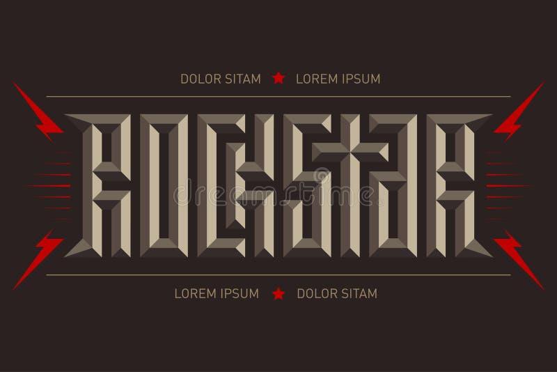 Rockstar - muziekaffiche met rode bliksem en sterren Rotsster - t-shirtontwerp 3D brieven De t-shirtkleding koelt druk stock illustratie