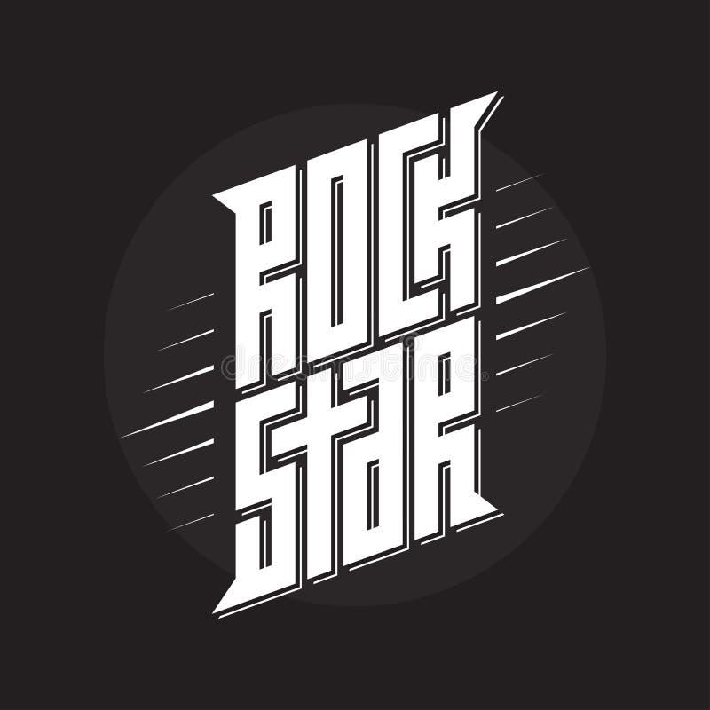 Rockstar - muzyczna plakata lub zespołu etykietka Gwiazda Rocka - koszulki desig ilustracja wektor