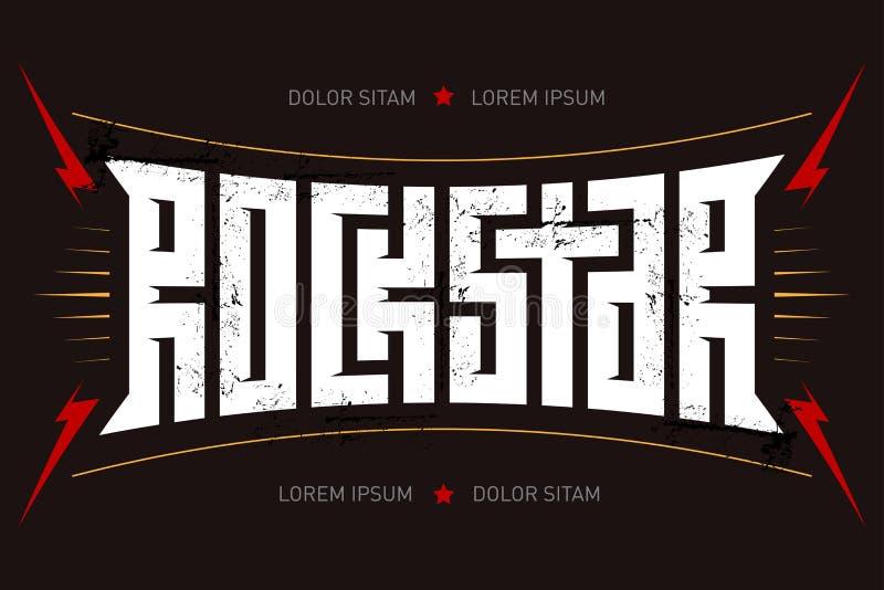 Rockstar - projeto do t-shirt Estrela do rock - cartaz da música com lig vermelho ilustração do vetor