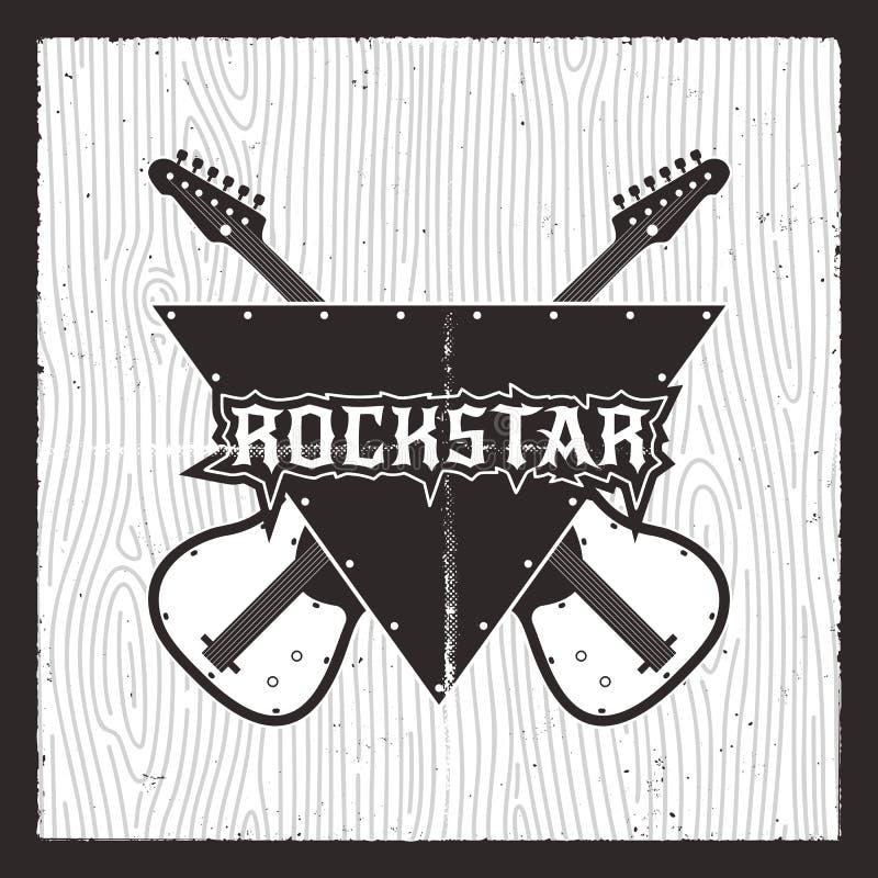Rockstaraffiche Grunge elektrogitaren met het van letters voorzien De ontwerpsjabloon van de T-stukdruk Silhouet retro kenteken V stock illustratie