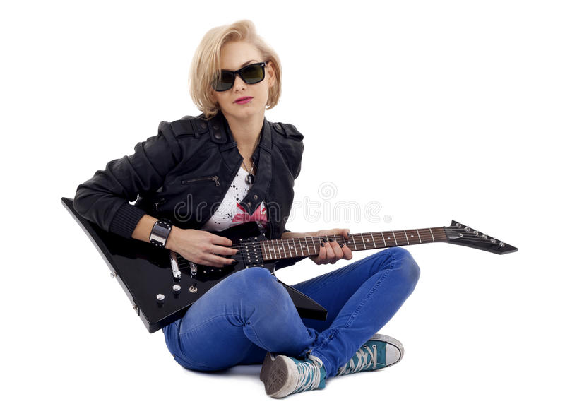 Download Rockstarl Playing An Electric Guitar On Her Knees Stock Image - Image: 17967549