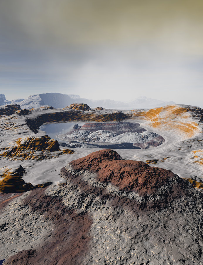Rocky alien landscape. Scenic view of barren, rocky alien landscape with water crater, cloudy sky and mountains in background royalty free stock images