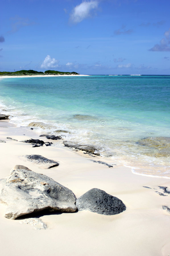 Rocky Anagonda Island Beach. A picturesque view of the rocky Anagonda Island beach in the British Virgin Islands stock image