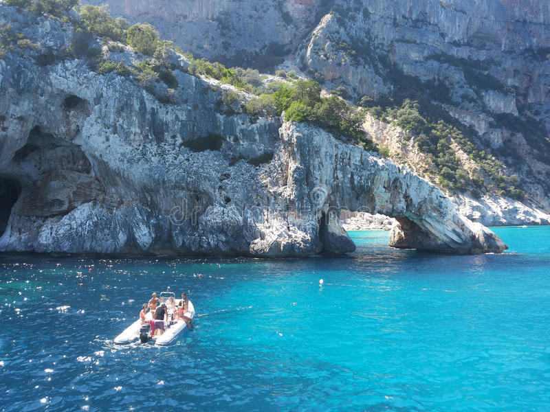 Rocky arch in the sea of Sardinia stock photo