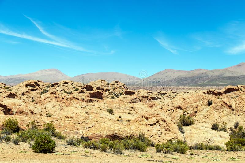 Desert landscapes with mountains in Bolivia at the dry season, dry vegetation is a natural background. Rocky and arid mountain landscape : Desert valley with stock photos