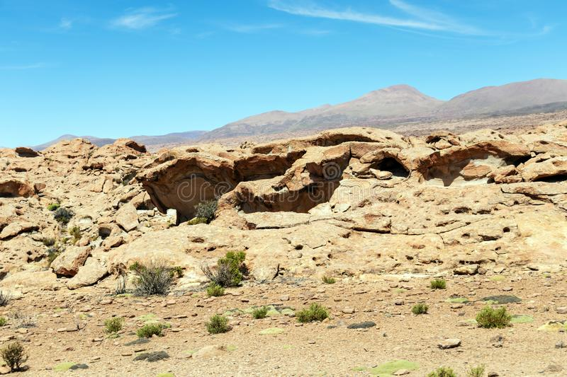 Desert landscapes with mountains in Bolivia at the dry season, dry vegetation is a natural background. Rocky and arid mountain landscape : Desert valley with stock photo