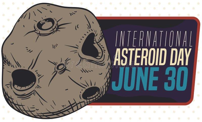Rocky Asteroid och etikett som främjar dess dag i Juni 30, vektorillustration royaltyfri illustrationer