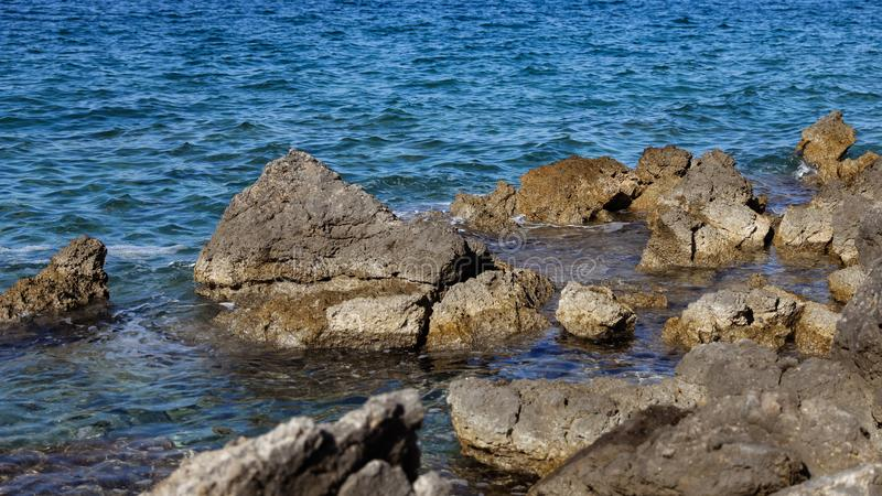Rocky bay in the Adriatic sea in Croatia stock photo