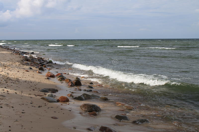 Rocky beach of the Baltic Sea, Hel, Poland stock image