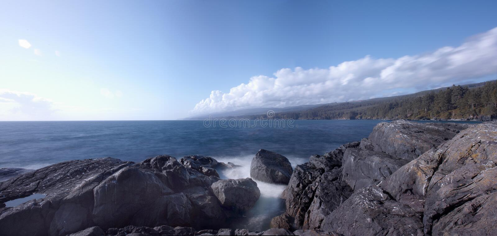 Rocky beach on Canada`s west coast, Sooke, Vancouver Island, BC. Panorama of a rocky beach on Canada`s west coast, Sooke, Vancouver Island, BC royalty free stock image