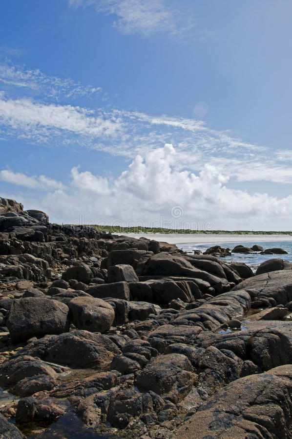 Rocky beach in Connemara, Ireland stock image