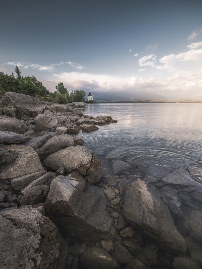 Rocky Beach of Liptovska Mara Lake in Slovakia stock photo