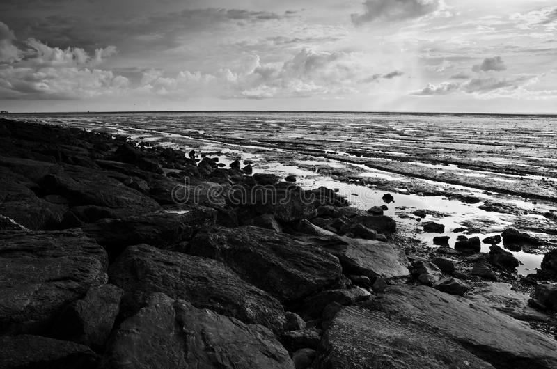 Rocky Beach During Low Tide royalty free stock photography