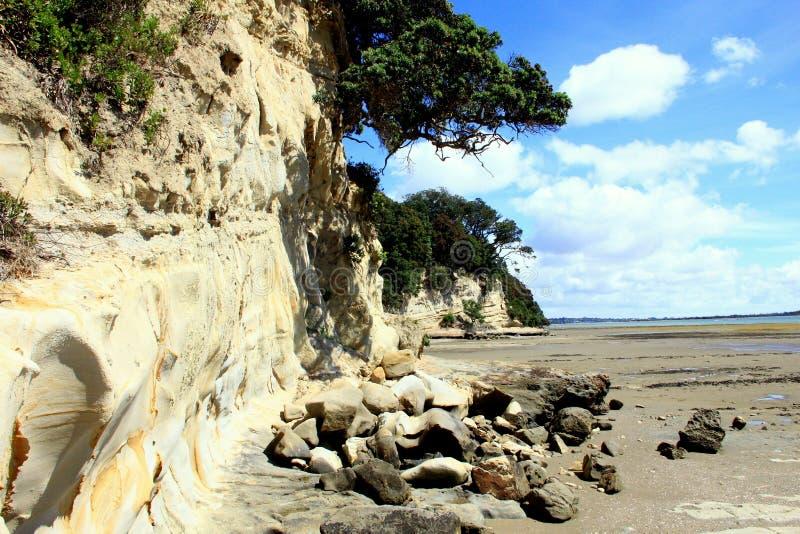 Rocky Beach Muriwai Beach en la costa oeste de la isla del norte Nueva Zelanda imagenes de archivo