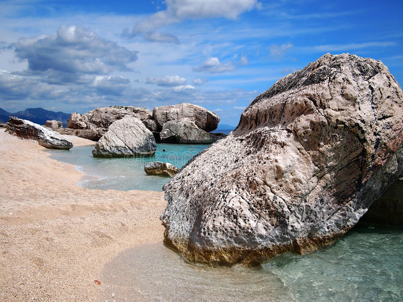 Rocky beach in Sardinia royalty free stock photo