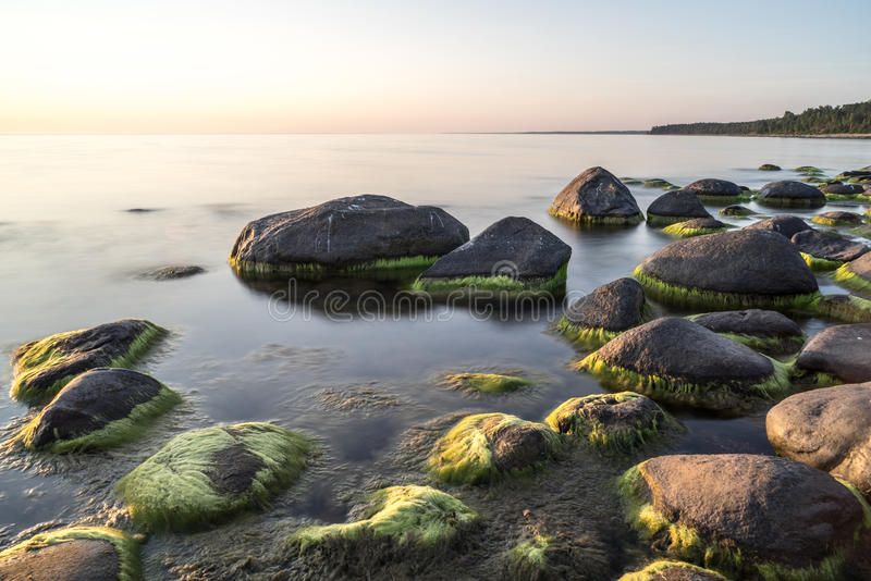 Rocky beach at sunset with milky water. And sand royalty free stock photos