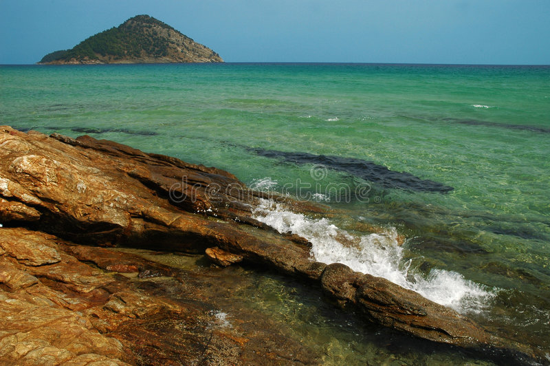 Rocky beach in Thassos island, Greece royalty free stock image