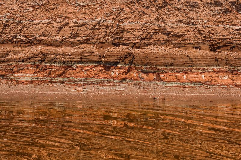 Rocky clay texture on a cliff stock image