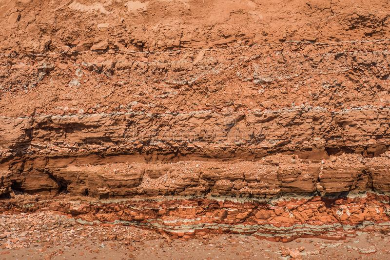 Rocky clay texture on a cliff royalty free stock photos