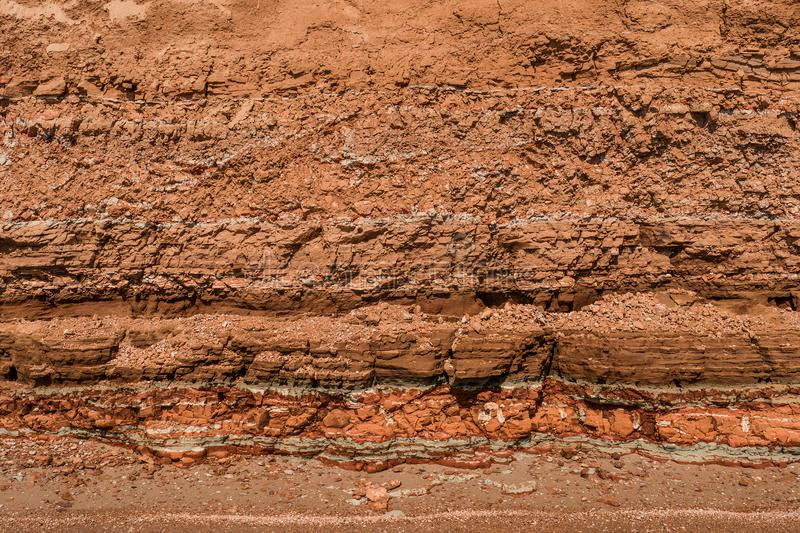 Rocky clay texture on a cliff royalty free stock image