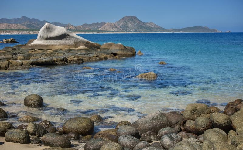 Rocky, Clear Shorleline of Cabo Pulmo on the Baja Peninsula. Excellent Snorkeling Awaits in the Clear, Shallow Waters of the Sea of Cortez in the Cabo Pulmo stock photography