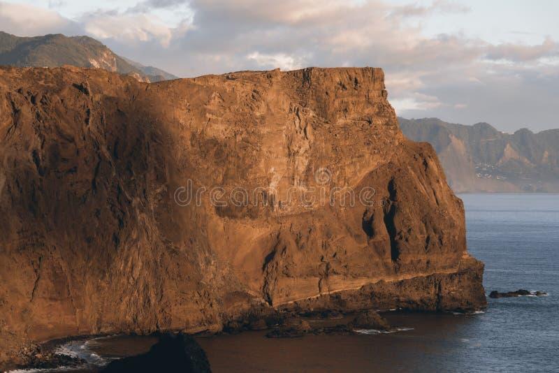 Rocky cliff on Madeira stock photos
