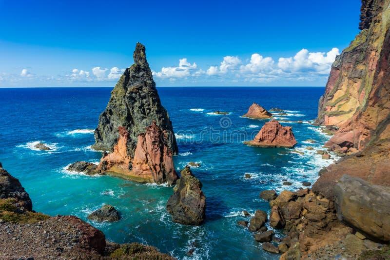 Rocky cliff on Ponta de Sao Lourenco, Madeira Island royalty free stock photography