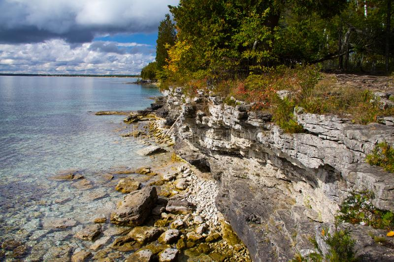 Download Rocky Cliff Walls Of Cave Point Park, Door County Stock Photo - Image of walls, geology: 107476308