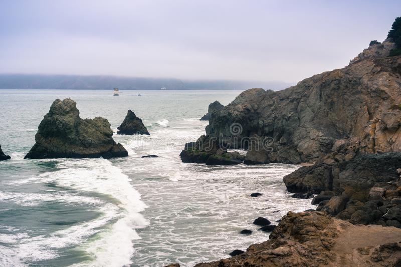 Rocky cliffs, Lands End, San Francisco, California stock images