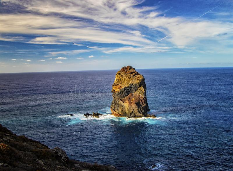 Rocky cliffs on the shore of the island of Madeira, Portugal. This amazing place is Ponta de Sao Lourenco. The most beautiful royalty free stock image