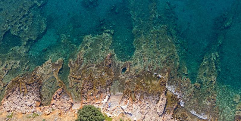 Rocky coast from above, Greece. View of a rocky coast from above, Attica - Greece royalty free stock photo
