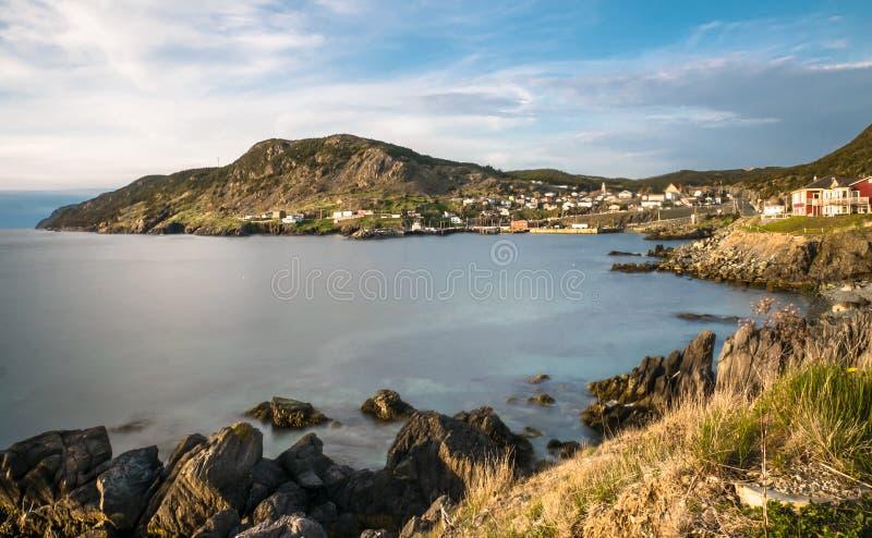 Rocky coast of bay stock photography